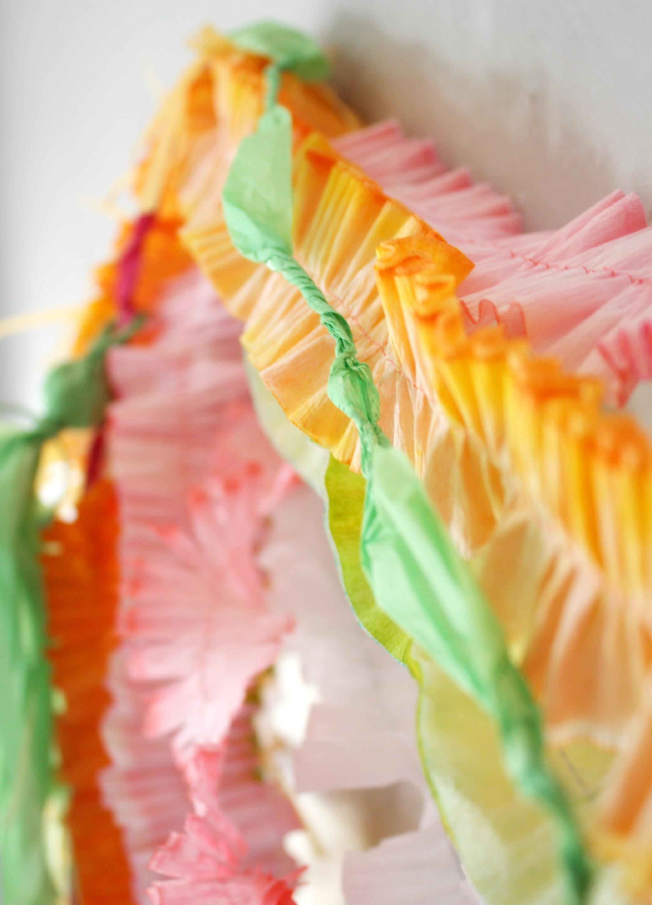 Crepe and tissue paper decoration detail