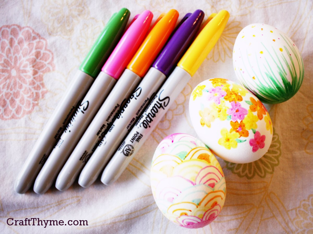 Using Permanent Markers To Dye Easter Eggs Easter Colored Hard Boiled