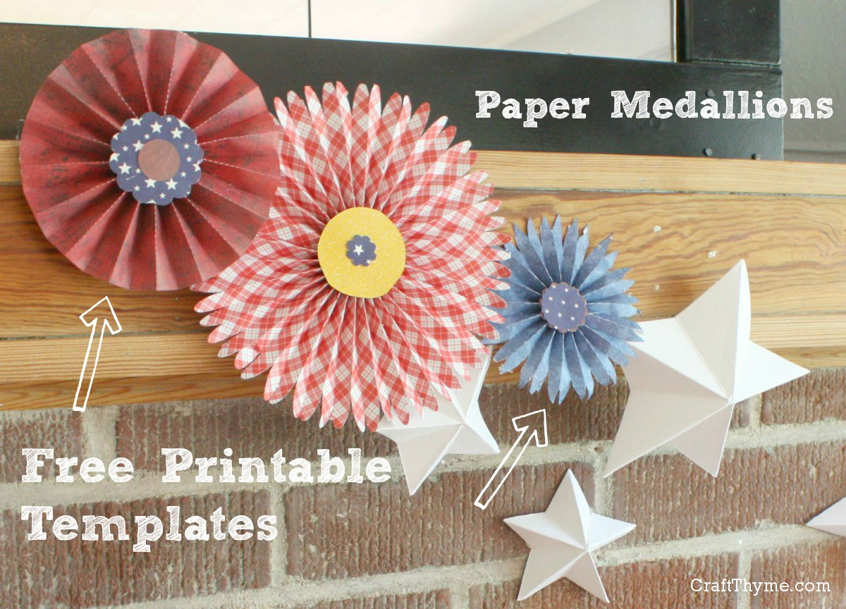 Free printable template. Flat and pointed paper medallions or rosettes.