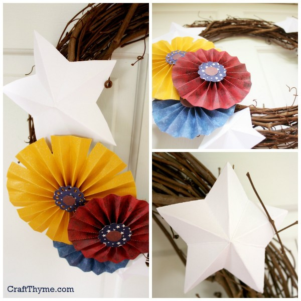 Details of a Fourth of July wreath made with paper medallions and stars