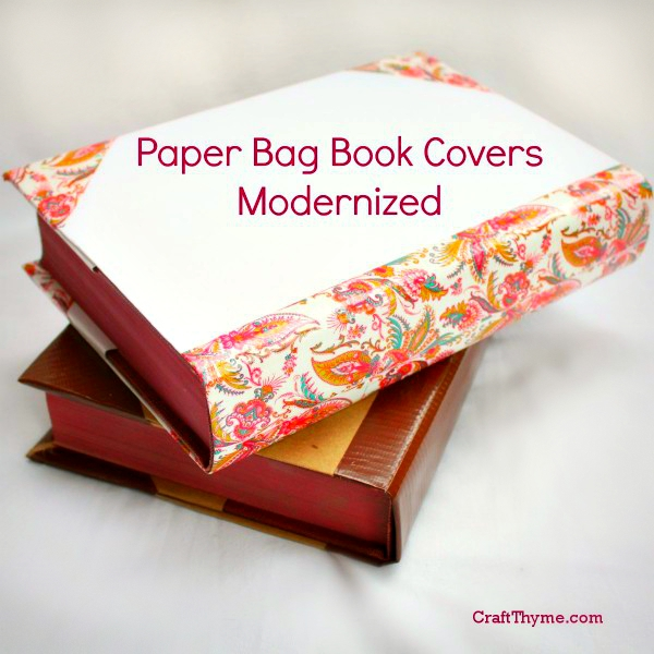 Paper Book Cover Diy : Old fashioned paper bag book covers craft thyme