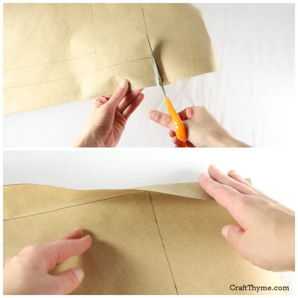 Step 3 in how to make a paper bag book cover