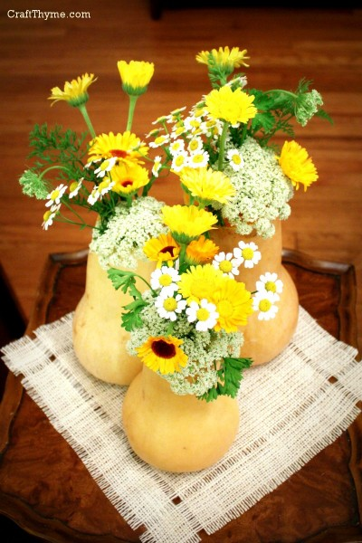 Autumn vases created from butternut squash