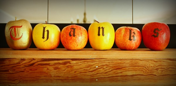 Thanks, spelled out from apples