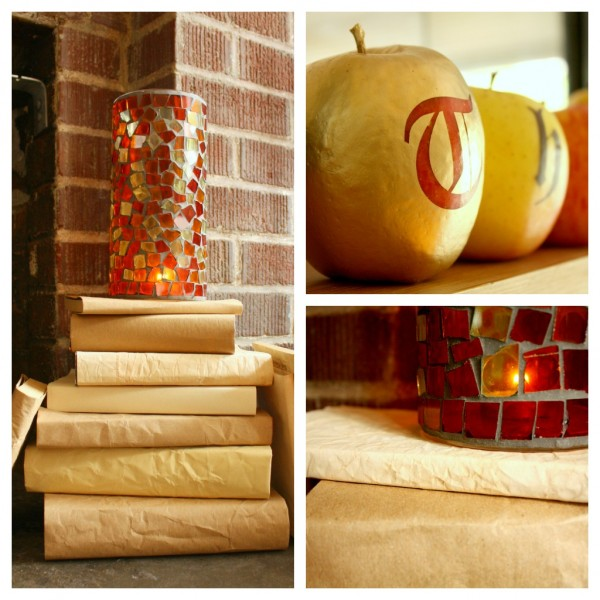 Details of Thanksgiving decorations using apples and aged papers