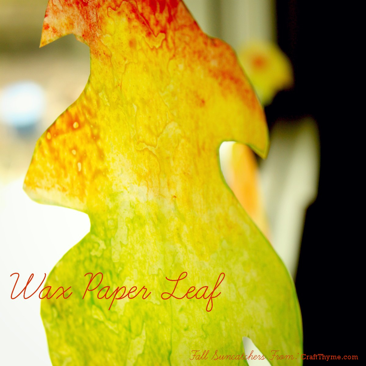 Tutorial on creating wax paper sun catchers in leaf shape.