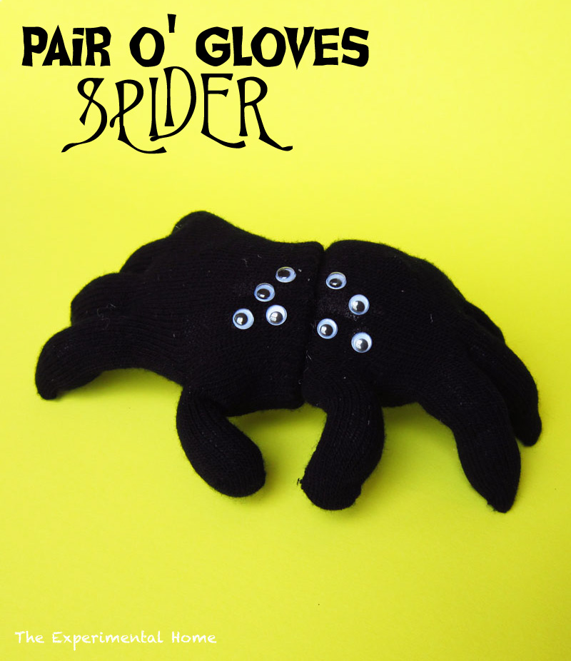 Stuffed Halloween spider made from gloves