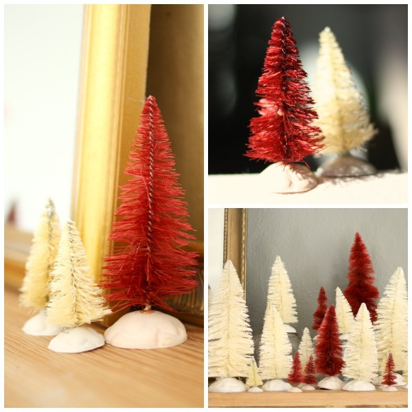 Detail pictures of red and white dyed bottle brush trees