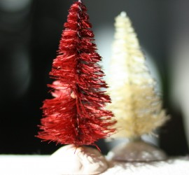 Red and white dyed bottle brush trees for Christmas