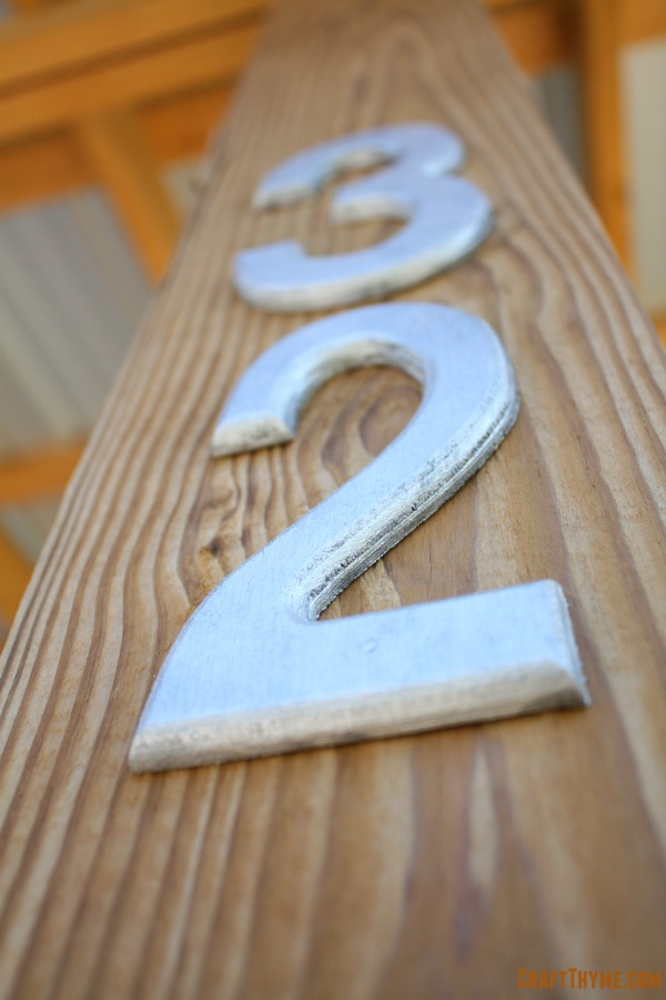 Completed faux finish for galvanized metal numbers