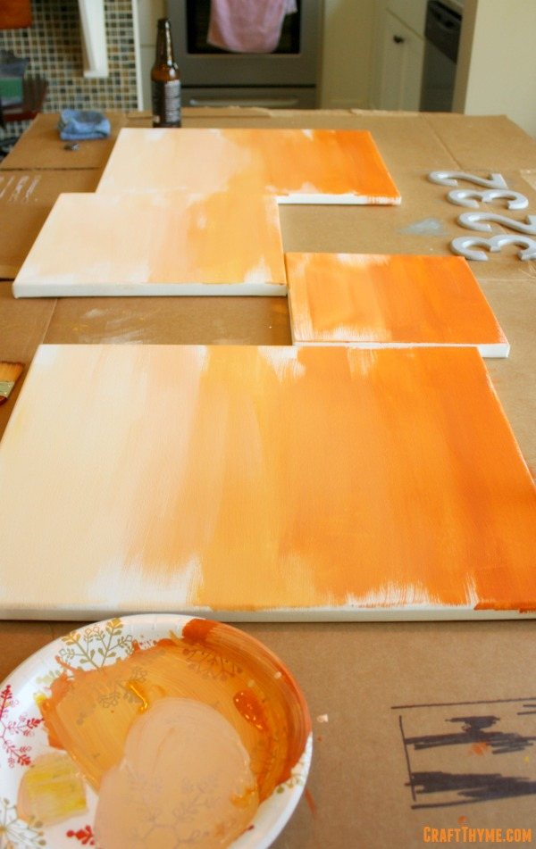 Basic Orange Ombre Modern Art
