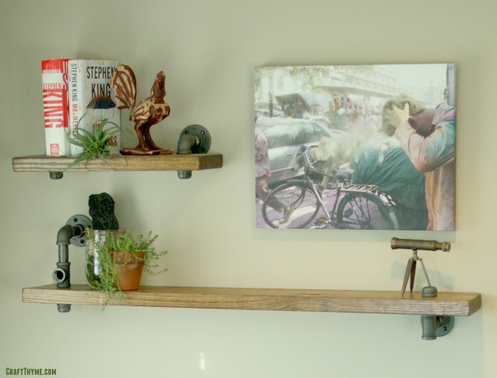 Industrial shelf made from pipe.