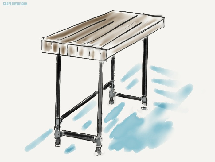 Sketch For Our Tutorial On Creating A Diy Pipe Desk Decor