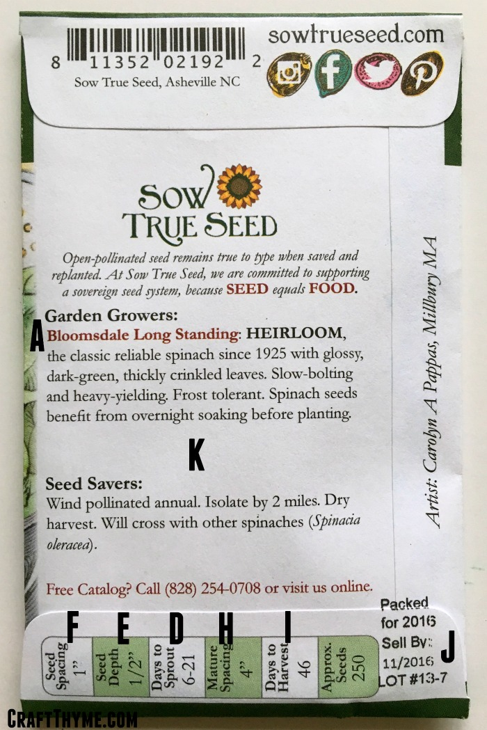 Diagram on how to read a seed packet