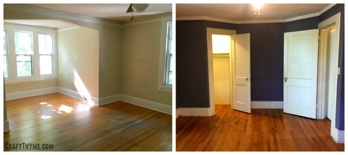 Both master and shared boy bedrooms have neat bumpouts and a large reading nook. One bedroom contains stains the other eggplant paint. A real toss up on what to tackle first.