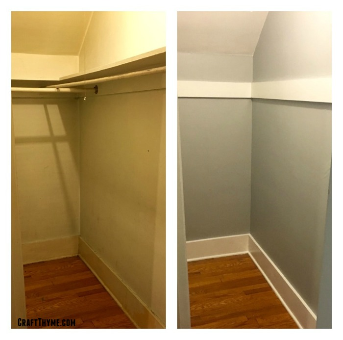 Before and after of the cottage style closet