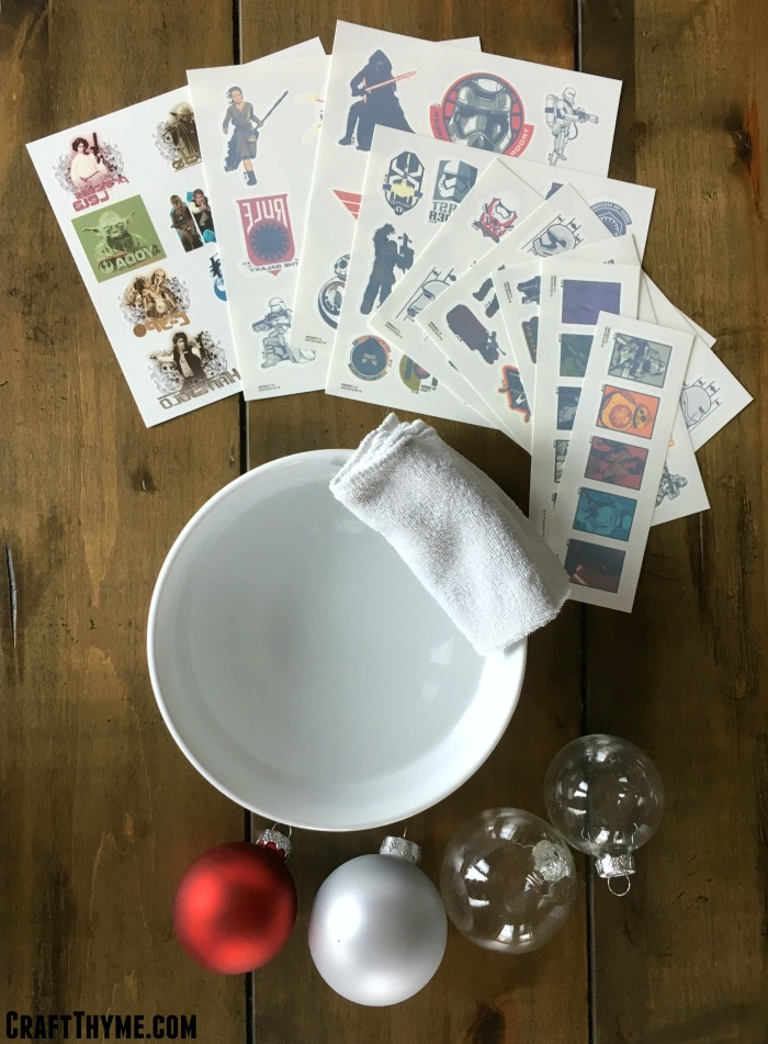 Supplies for DIY Star Wars Ornaments