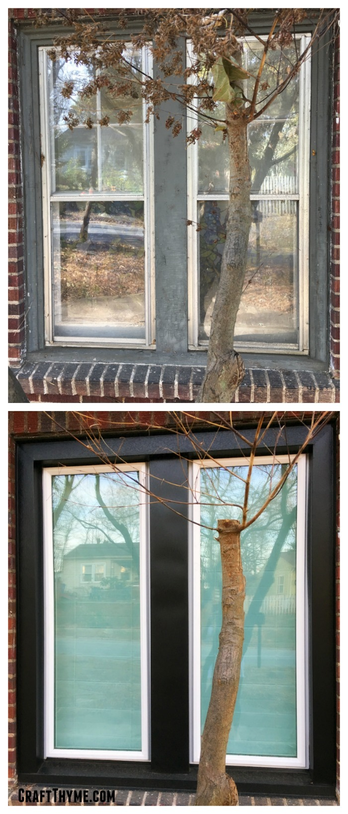 Before and after of vinyl replacement windows