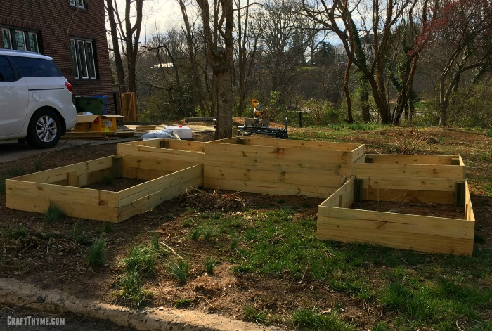 Finished DIY garden boxes or raised beds