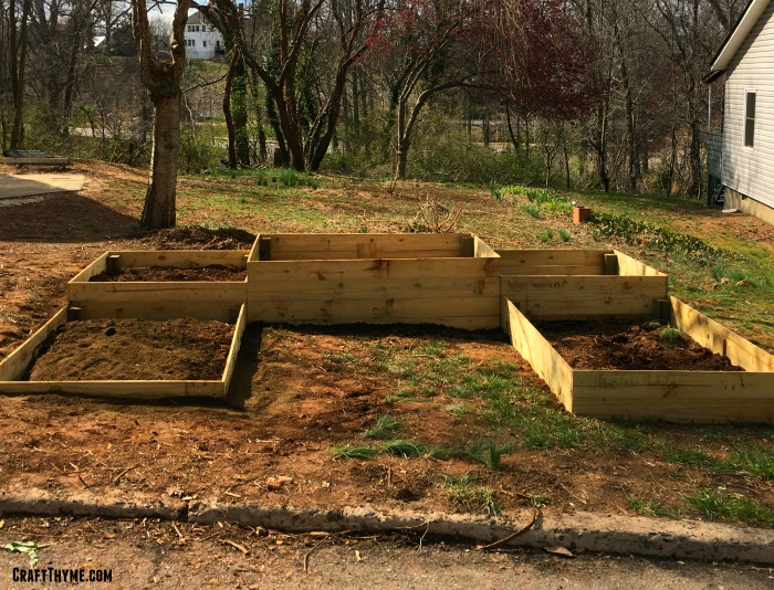Raised beds leveled in a sloped landscape.