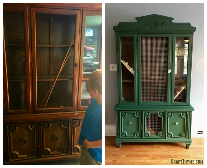 Before and after of a Craigslist china cabinet turned into an DIY indoor rabbit hutch