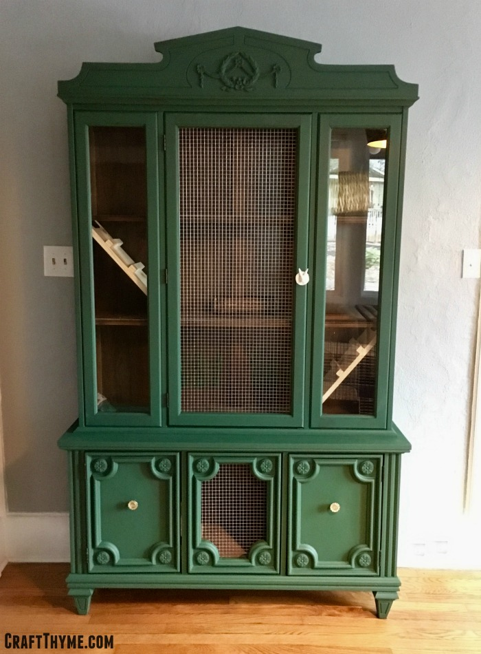 What?! A twenty-five dollar Craigslist china cabinet becomes what?! An indoor rabbit hutch. Perfect for your pampered bunnies.