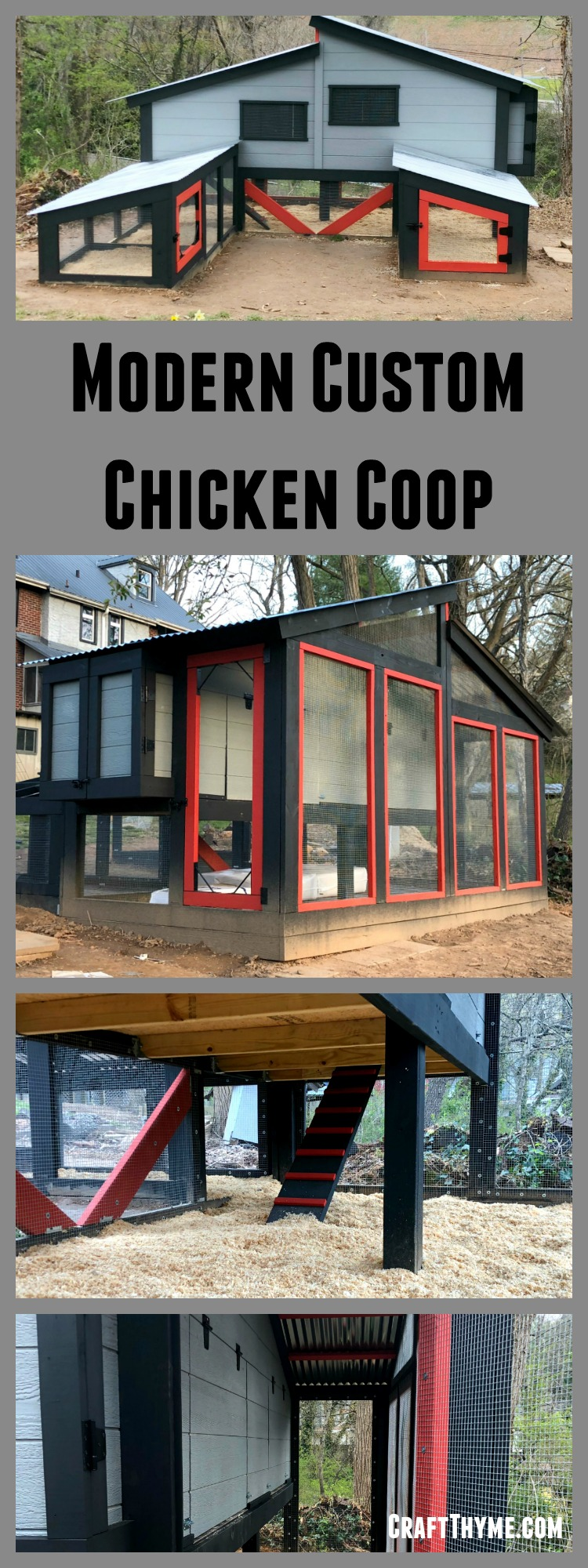 Modern Chicken coop design for your loved backyard chickens. This custom chicken coop design features red, black, and grey with metal shed roofs.