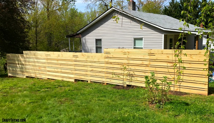 Wooden composting fence with espalier fruit trees