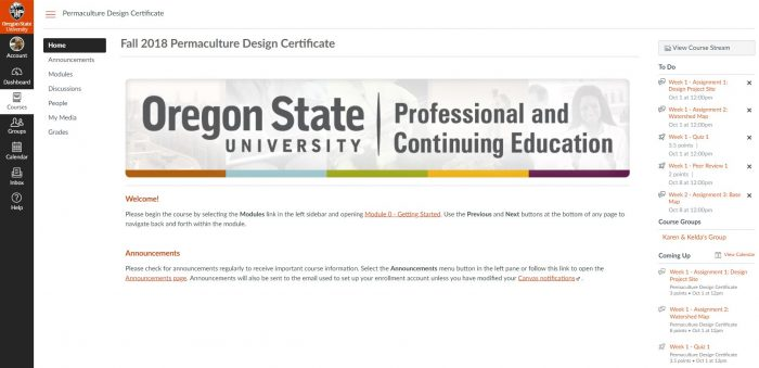 Intro screen for my online permaculture certificate course at Oregon State University